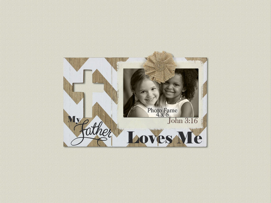 Christian Photo Plaque - My Father Loves Me (John 3:16) - Love the Lord Inc