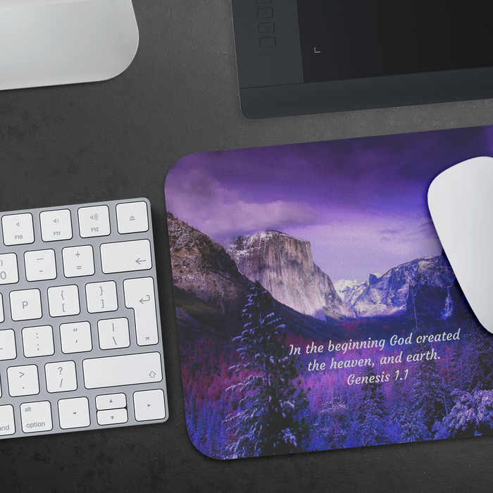 Snowy Mountain View - Mousepad (Genesis 1.1) - Love the Lord Inc