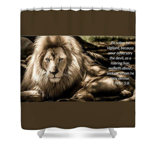 Be Sober Your Adversary - Shower Curtain - Love the Lord Inc