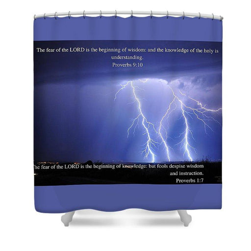Fear Of The Lord - Thunder - Shower Curtain - Love the Lord Inc