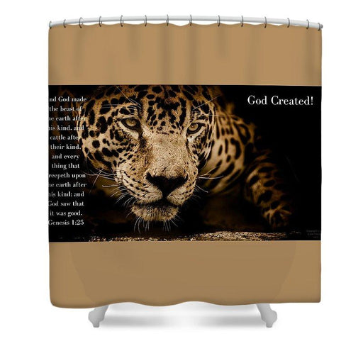 God Created Jaguar - Shower Curtain - Love the Lord Inc