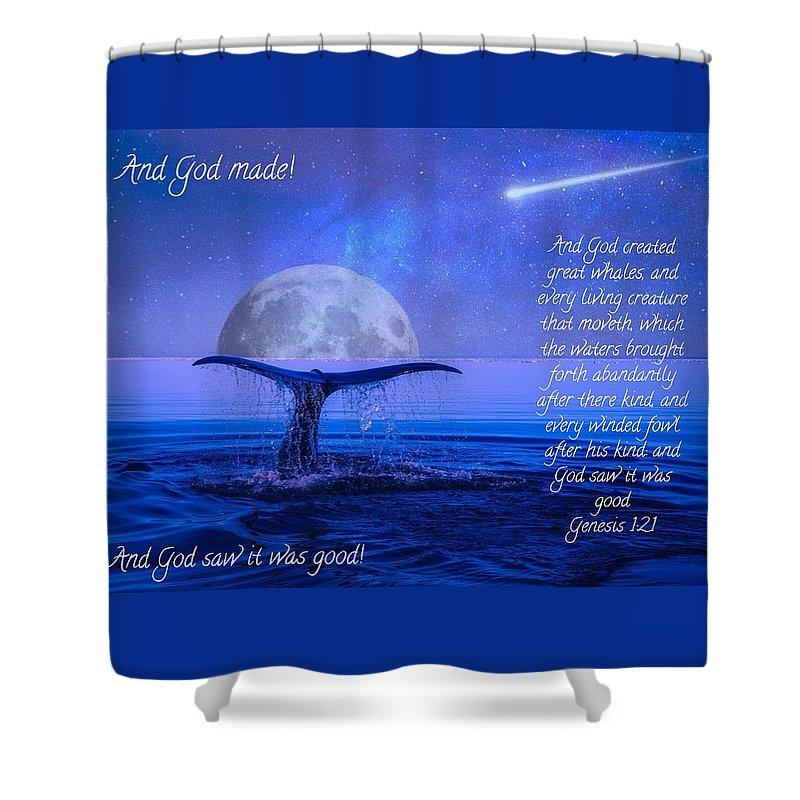 God Made Moon And Whale - Shower Curtain - Love the Lord Inc