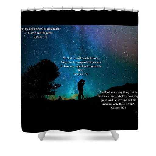 In The Beginning God Created Male And Female - Shower Curtain - Love the Lord Inc
