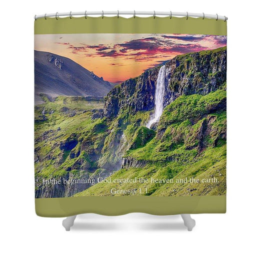 In The Beginning God Created - Shower Curtain - Love the Lord Inc