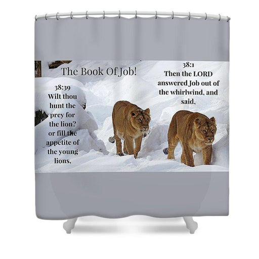 The Book Of Job 2lions - Shower Curtain - Love the Lord Inc