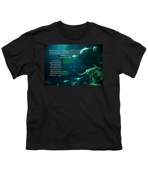 Sins Tossed Into the Sea - Youth T-Shirt - Love the Lord Inc