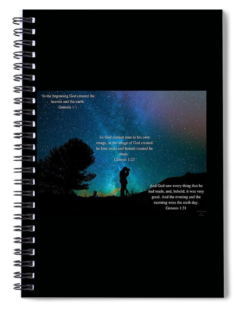 In The Beginning God Created Male And Female - Spiral Notebook - Love the Lord Inc