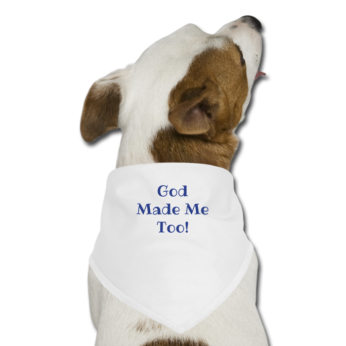 God Made Me Too! Dog Bandana (Blue) - Love the Lord Inc