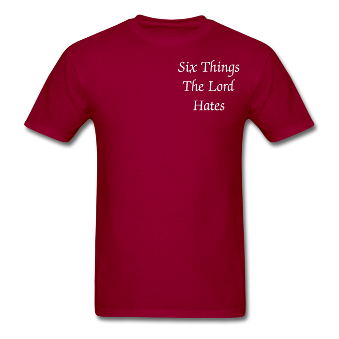 Men's T-Shirt - Six Things The Lord Hates - Love the Lord Inc