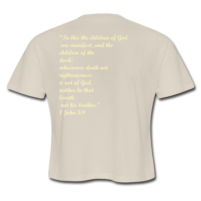 Women's Cropped T-Shirt - Child Of God (Cream) - Love the Lord Inc