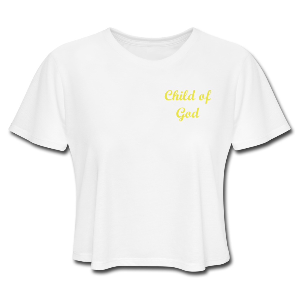 Women's Cropped T-Shirt - Child Of God (Yellow) - Love the Lord Inc