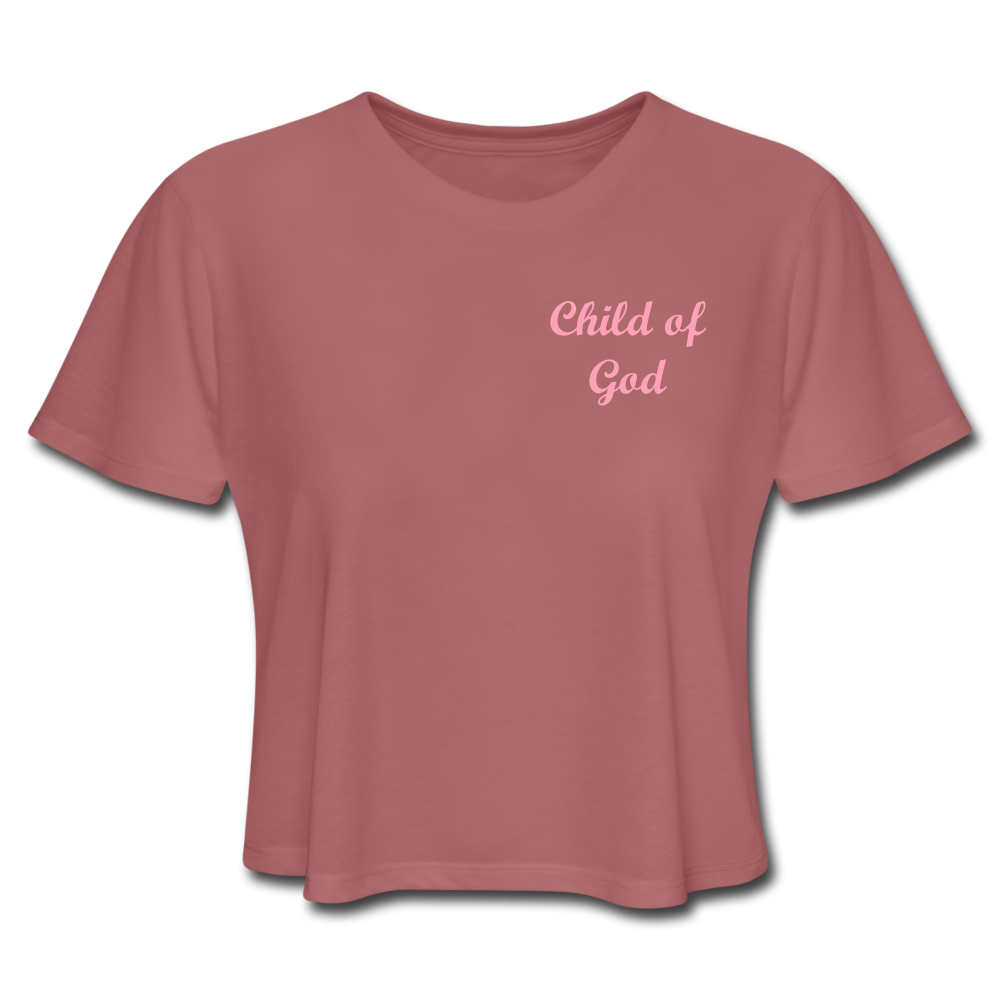 Women's Cropped T-Shirt - Child Of God (Mauve) - Love the Lord Inc