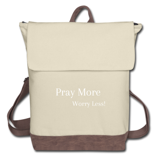 Canvas Backpack - Pray More Worry Less - Love the Lord Inc