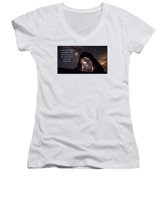 Stand In Awe Of Him - Women's V-Neck - Love the Lord Inc