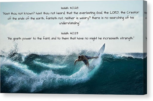 Surfer - He Gives Strength - Canvas Print - Love the Lord Inc
