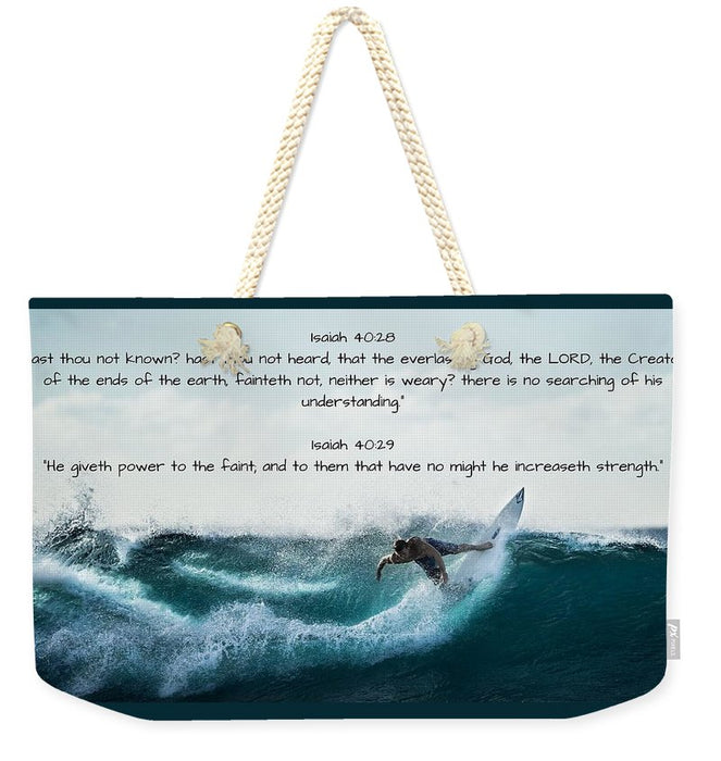 Surfer - He Gives Strength - Weekender Tote Bag - Love the Lord Inc