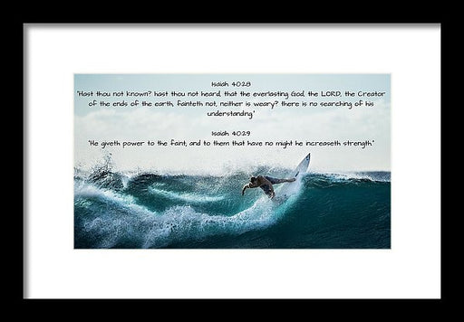 Surfer - He Gives Strength - Framed Print - Love the Lord Inc