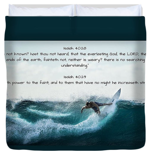 Surfer - He Gives Strength - Duvet Cover - Love the Lord Inc