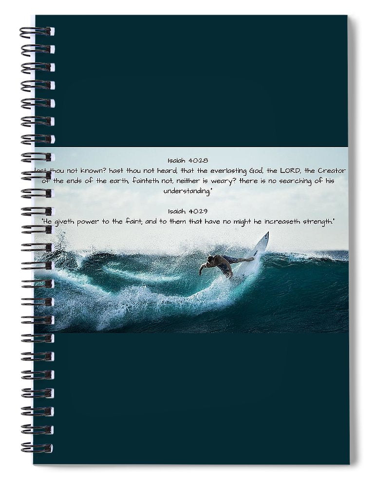 Surfer - He Gives Strength - Spiral Notebook - Love the Lord Inc