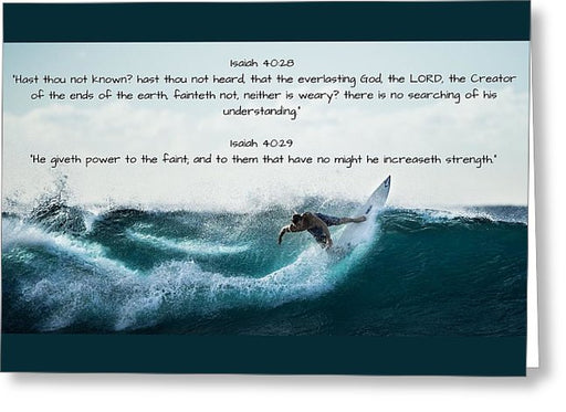 Surfer - He Gives Strength - Greeting Card - Love the Lord Inc