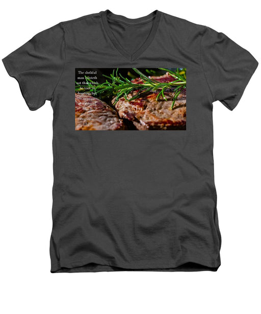 The Diligent and A Great Steak - Men's V-Neck T-Shirt - Love the Lord Inc