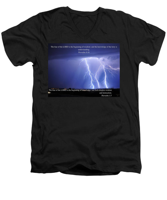 The Fear Of The Lord - Thunder - Men's V-Neck T-Shirt - Love the Lord Inc