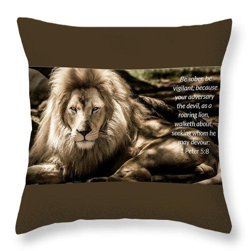 Be Sober Your Adversary - Throw Pillow - Love the Lord Inc