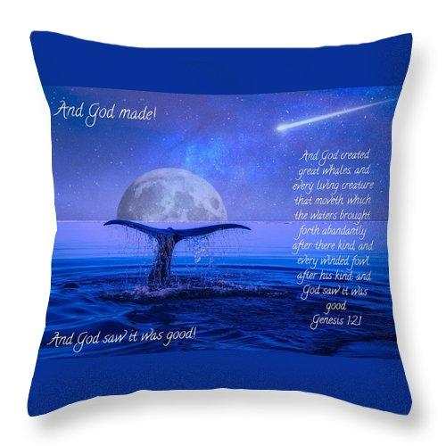 God Made Moon And Whale - Throw Pillow - Love the Lord Inc