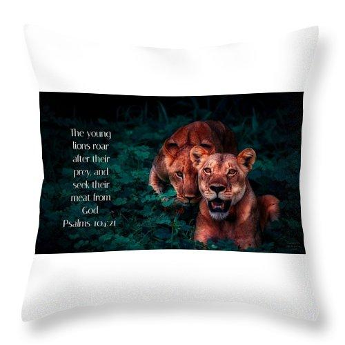 Lions Seek Food From God - Throw Pillow - Love the Lord Inc