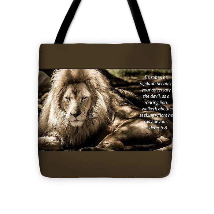 Be Sober Your Adversary - Tote Bag - Love the Lord Inc