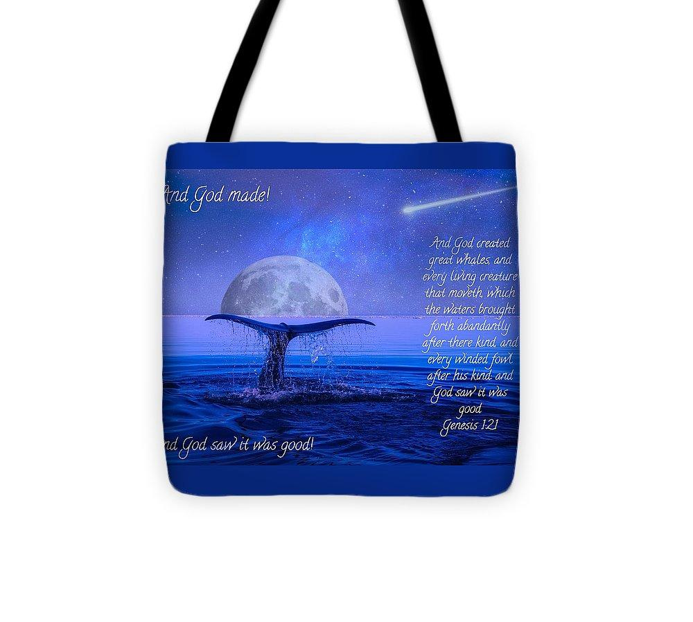 God Made Moon And Whale - Tote Bag - Love the Lord Inc