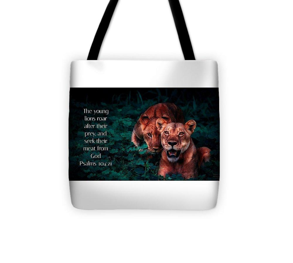 Lions Seek Food From God - Tote Bag - Love the Lord Inc