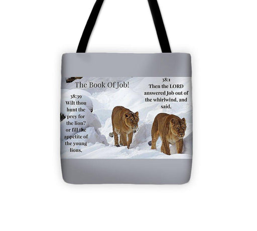 The Book Of Job 2lions - Tote Bag - Love the Lord Inc