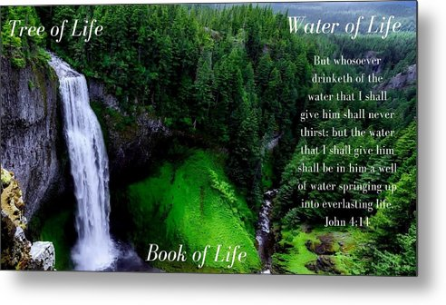 Tree Book Water Of Life - Metal Print - Love the Lord Inc