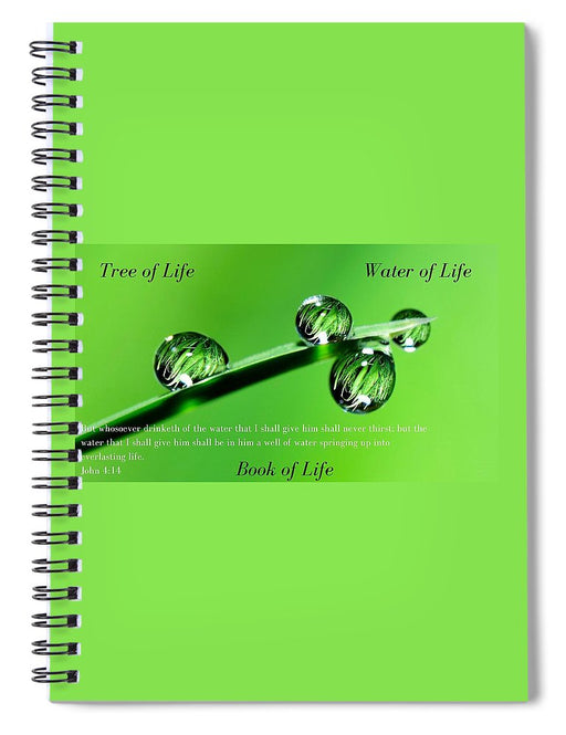 Tree Water Book of Life Water Drops - Spiral Notebook - Love the Lord Inc