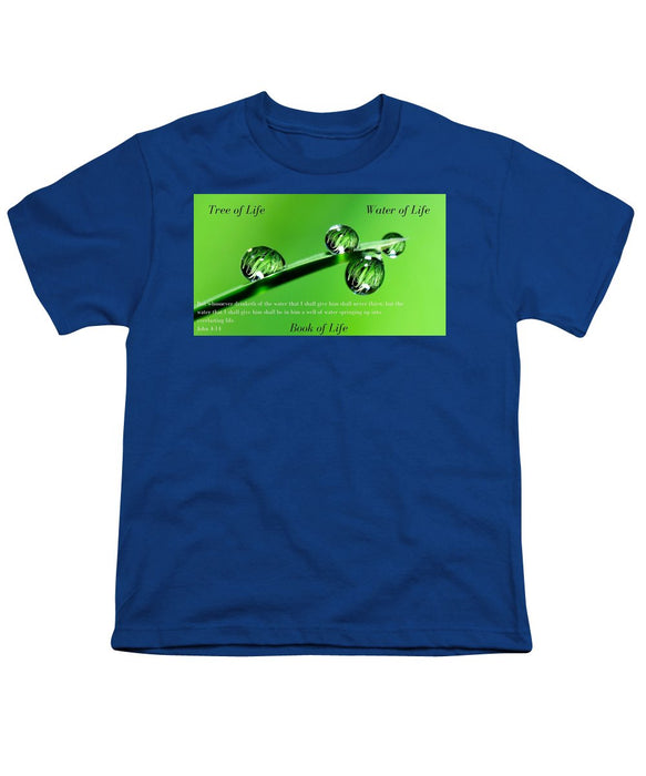 Tree Water Book Of Life Water Drops - Youth T-Shirt - Love the Lord Inc