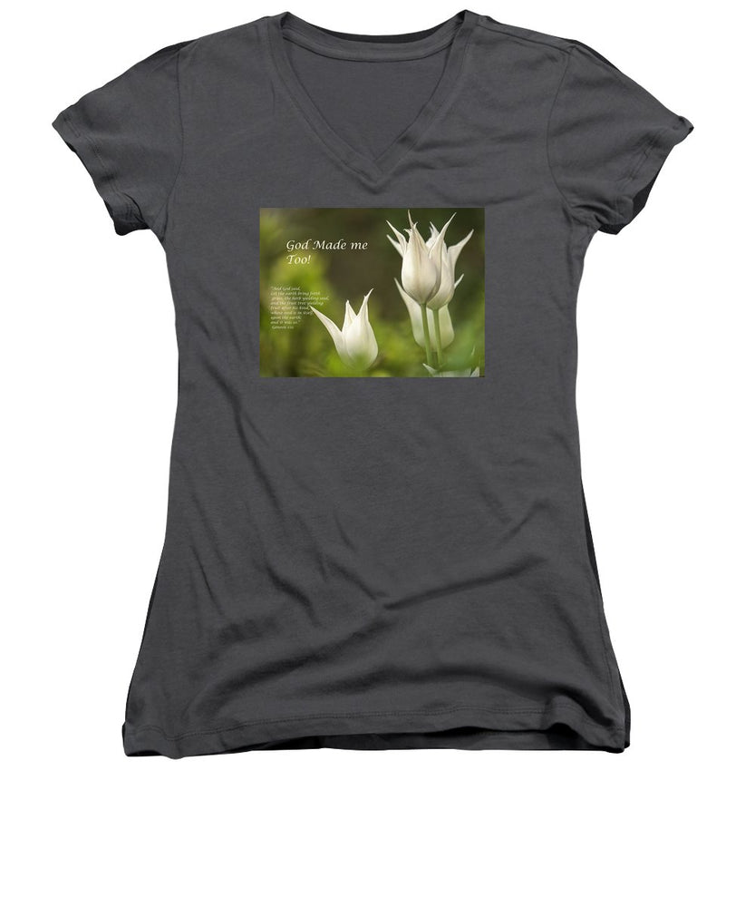 Tulips_God Made Me - Women's V-Neck - Love the Lord Inc