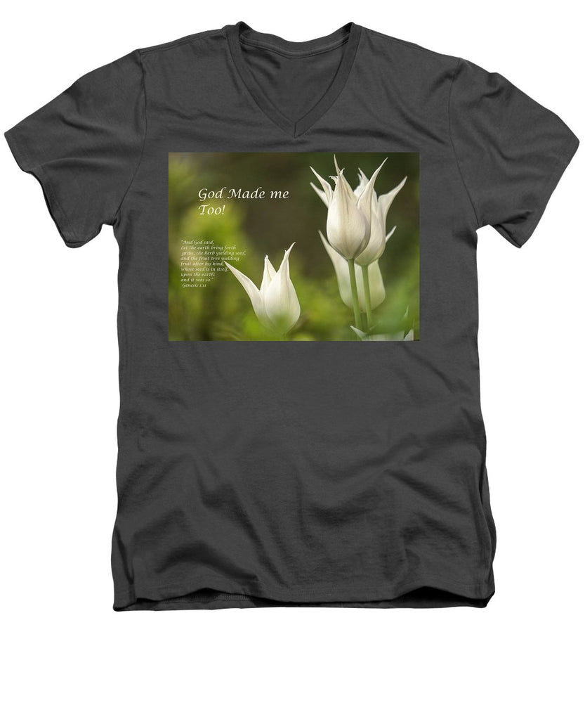 Tulips_God Made Me - Men's V-Neck T-Shirt - Love the Lord Inc