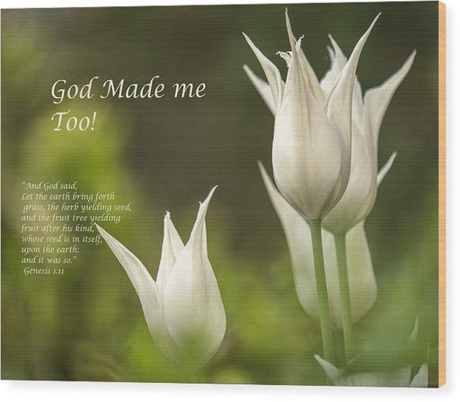 Tulips_God Made Me - Wood Print - Love the Lord Inc