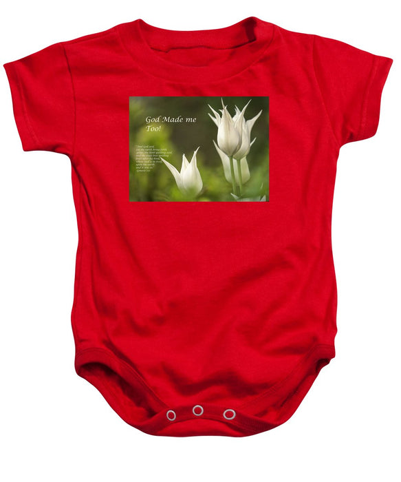 Tulips_God Made Me - Baby Onesie - Love the Lord Inc