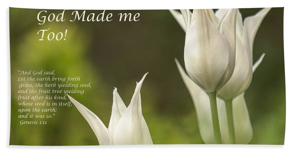 Tulips_God Made Me - Bath Towel - Love the Lord Inc