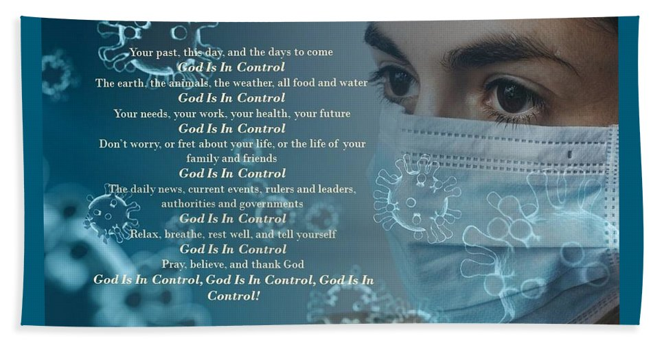 Virus - God Is In Control - Beach Towel - Love the Lord Inc