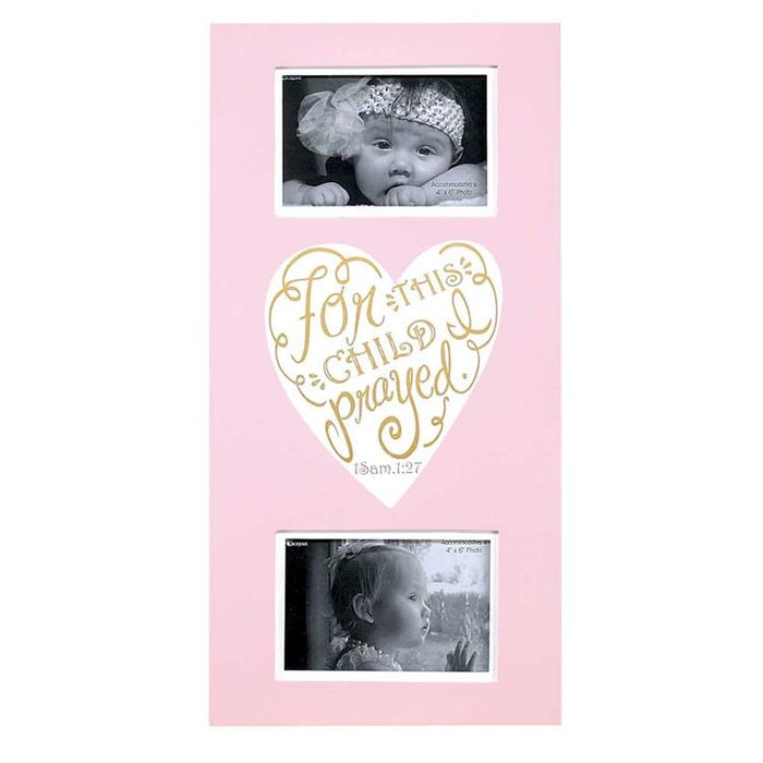 Christian Photo Frame - For This Child I Prayed Wall Art Photo Frame (Pink) - Love the Lord Inc