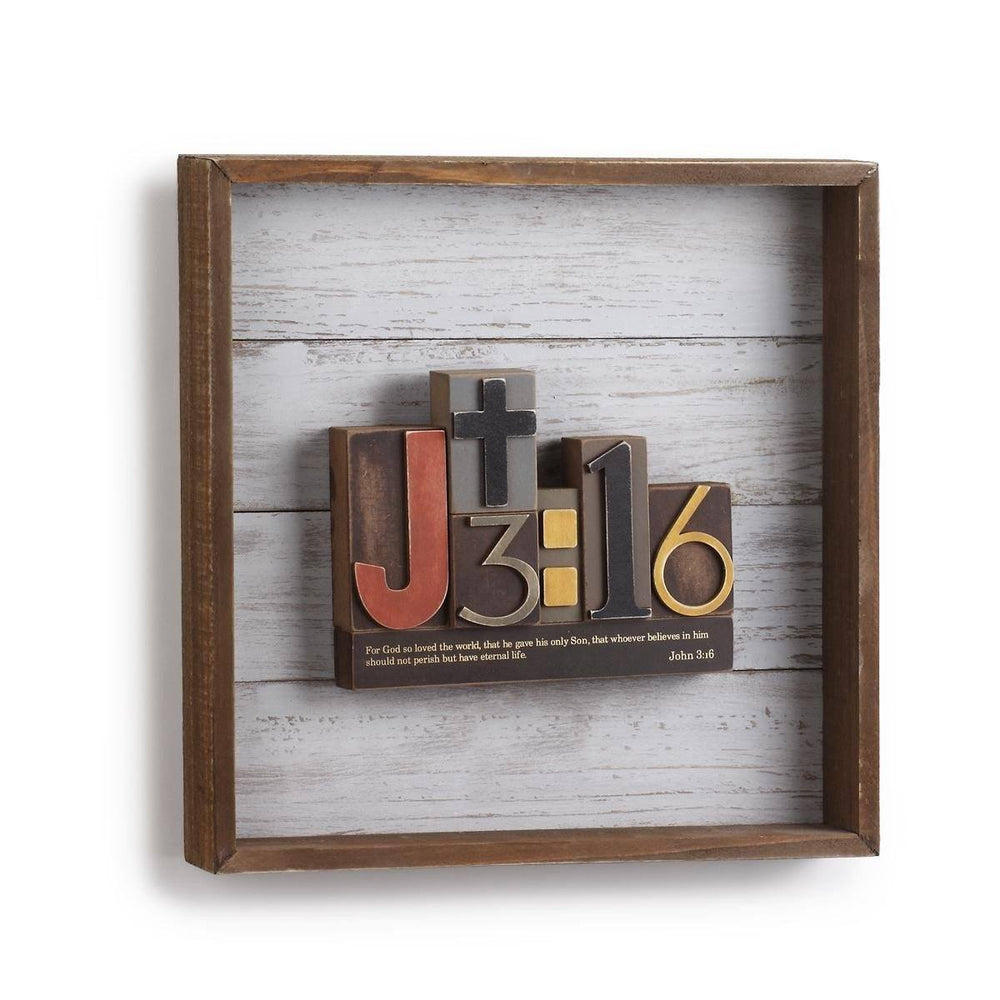 Christian Wall Art -  3D Block Word Art John 3:16 - Love the Lord Inc