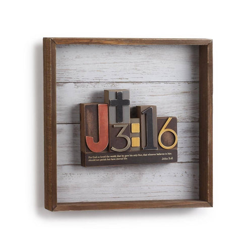 Wall Art - Christian Wall Art -  3D Block Word Art John 3:16