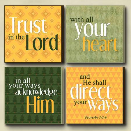 "Christian Wall Art - Four Plaque ""Trust In The Lord"" - Love the Lord Inc"