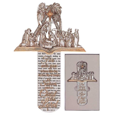 Wall Art - Cross - Nativity Scene On Pages Of Bible