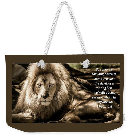 Be Sober Your Adversary - Weekender Tote Bag - Love the Lord Inc