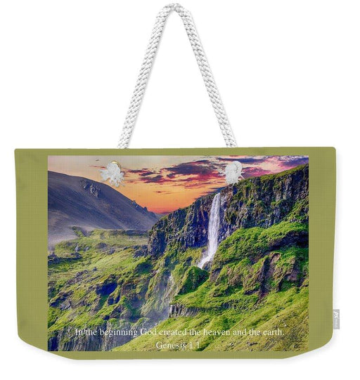 In The Beginning God Created - Weekender Tote Bag - Love the Lord Inc