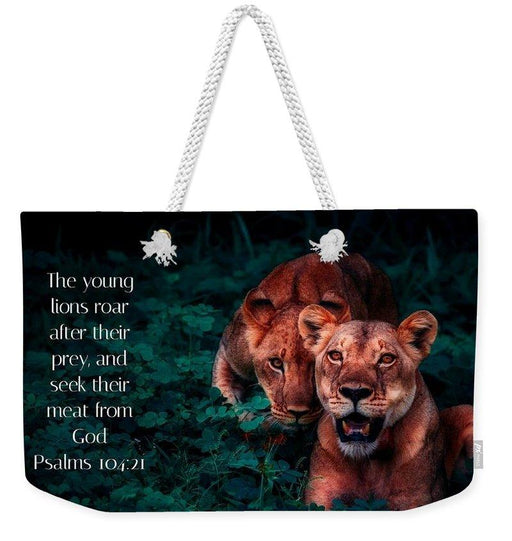Lions Seek Food From God - Weekender Tote Bag - Love the Lord Inc